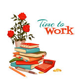 Time to work banner with accountant things. Vector illlustration Royalty Free Stock Images