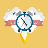 Time to work. Clock soaring up. Vector Design. The alarm goes up.The concept of a deadline Royalty Free Stock Photo