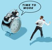 Businessmen and woman are afraid of the symbol deadline. Time to work. Flat isometric view of businessman are afraid of the symbol deadline. Conceptual collage Royalty Free Stock Photos