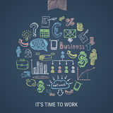 Time To Work Hand Drawn Icons. Time to work hand drawn colorful business icons in round shape on dark background isolated vector illustration Stock Image