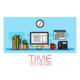 Time to work horizontal banner Royalty Free Stock Photos