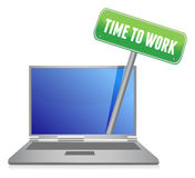 Time to work sign on laptop Royalty Free Stock Photography