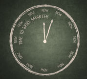 Time to work smarter on blackboard. Time to work smarter clock written on the blackboard Stock Images