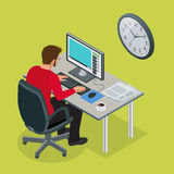 Time to work or Time management project plan schedule. Sand clock flat 3d vector isometric illustration. Business man. Working background with laptop table Stock Image
