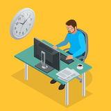 Time to work or Time management project plan schedule. Sand clock flat 3d vector isometric illustration. Business man. Working background with laptop table Royalty Free Stock Photo