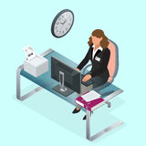 Time to work or Time management project plan schedule. Sand clock flat 3d vector isometric illustration. Business woman Stock Image