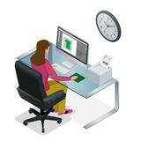 Time to work or Time management project plan schedule. Sand clock flat 3d vector isometric illustration. Business woman Royalty Free Stock Photo
