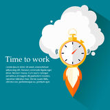 Time to work. Time is running out.Clock,Stopwatch soaring up. Vector Design Stock Photos