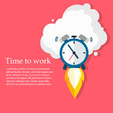 Time to work. Time is running out. Vector Design. Alarm clock rocket soars up Royalty Free Stock Photo