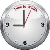 Time to work, wall clock sign. Royalty Free Stock Photography