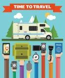 Time toTravel modern flat design with camper,trailer,summer holiday stock illustration