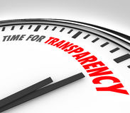 Time for Transparency Clarity Honest Forthright Clock. Time for Transparency words on a white clock face to illustrate honesty, sincerity, forthrightness and Stock Photos