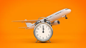Time for travel, airplane clocks. Stock Photo