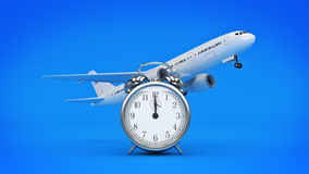 Time for travel, airplane clocks. Stock Photography