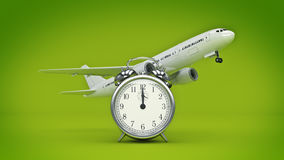Time for travel, airplane clocks. Stock Photos
