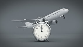 Time for travel, airplane clocks. Stock Images
