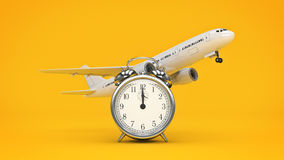Time for travel, airplane clocks. Royalty Free Stock Photo
