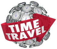 Time Travel Clock Sphere Future Science Fiction Prediction. Time Travel words in a red arrow on a ball or sphere of clocks to illustrate traveling into the Stock Image