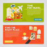 Time For Travel And Find The Right Place Concept Illustrations. Time for travel and Find the right place concept banners. Horizontal composition, vector Stock Photography