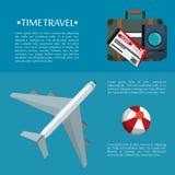 time travel flyer plane bag passport ticket plastic ball Royalty Free Stock Photography