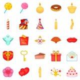 Time travel icons set, cartoon style Royalty Free Stock Photos