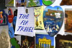 Time for travel. Messages on paper and magnets royalty free stock images