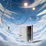 Time travel. Surrealism. Spiral of time. Lonely man in a distance. Opened door to another dimension. Human elements were created with 3D software and are not royalty free illustration