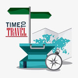 Time travel vacation trip icon. Stock Photo