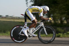 Time trial Cylist. Cyclist during time trial races Royalty Free Stock Image