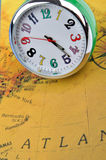 Time and trip. Clock and map means time and travel concept, shown as business trip and time across or location change by times Stock Image