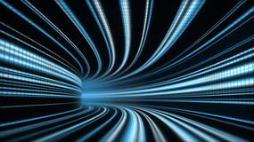 Time tunnel. 3D Illustration of abstract time tunnel with blue lines