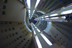 Time Tunnel. A spiral staircase looking like a space aged structure Royalty Free Stock Photo