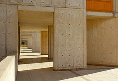 Time tunnel building structure, Salk Institute. The historical architecture landmark, which is a famous Biological research institute founded by Jonas Salk and Stock Photography