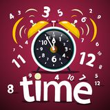Time Vector Design with Numbers and Alarm Clock. Time Vector Design with Numbers and Ringing Alarm Clock royalty free illustration