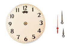 Time on vintage clock Part of a clock. Part of of clock isolated in white background Royalty Free Stock Image