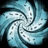 Time Vortex Concept. Illustration with Swirled Time by Black Hole Stock Photography