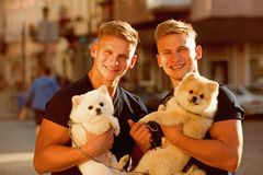 Time for a walk. Muscular men with dog pets. Twins men hold pedigree dogs. Happy twins with muscular look. Spitz dogs. Love the company of their family. Happy royalty free stock images