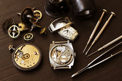 Time and watch parts Royalty Free Stock Photography