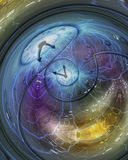 Time. Weaving time spirals through energetic space Royalty Free Stock Image