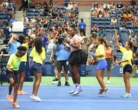 23-time wielkiego szlema mistrz Serena Williams uczestniczy przy Arthur Ashe dzieciaków dniem przed 2018 us open obraz royalty free