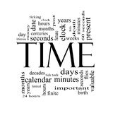 Time Word Cloud Concept in Black and White Stock Photos