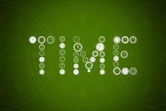 Time word by different clock types. In green background Stock Images