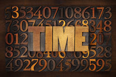 Time word in wood type Royalty Free Stock Photos