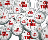 On Time Words Flying Clocks Punctuality Stock Photography