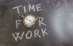 Time For Work. Concept on chalk table whit an old pocket watch Royalty Free Stock Photography