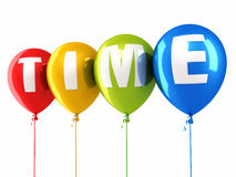 Time writing colorful balloons Stock Photography