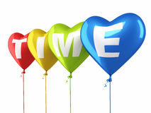 Time writing colorful heart balloons Stock Photography