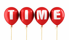 Time writing red balloons Royalty Free Stock Photos
