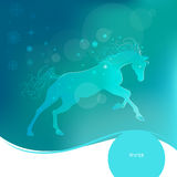 Time year - winter. Brightly glowing vector illustration of a galloping horse. Juicy blue aquamarine background. Design Stock Images