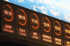 Time Zone. Different Cities Time show on Airport Stock Images